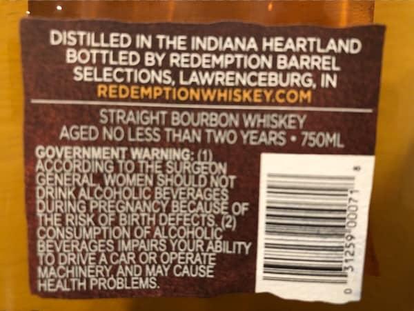 Redemption Bourbon - Back label