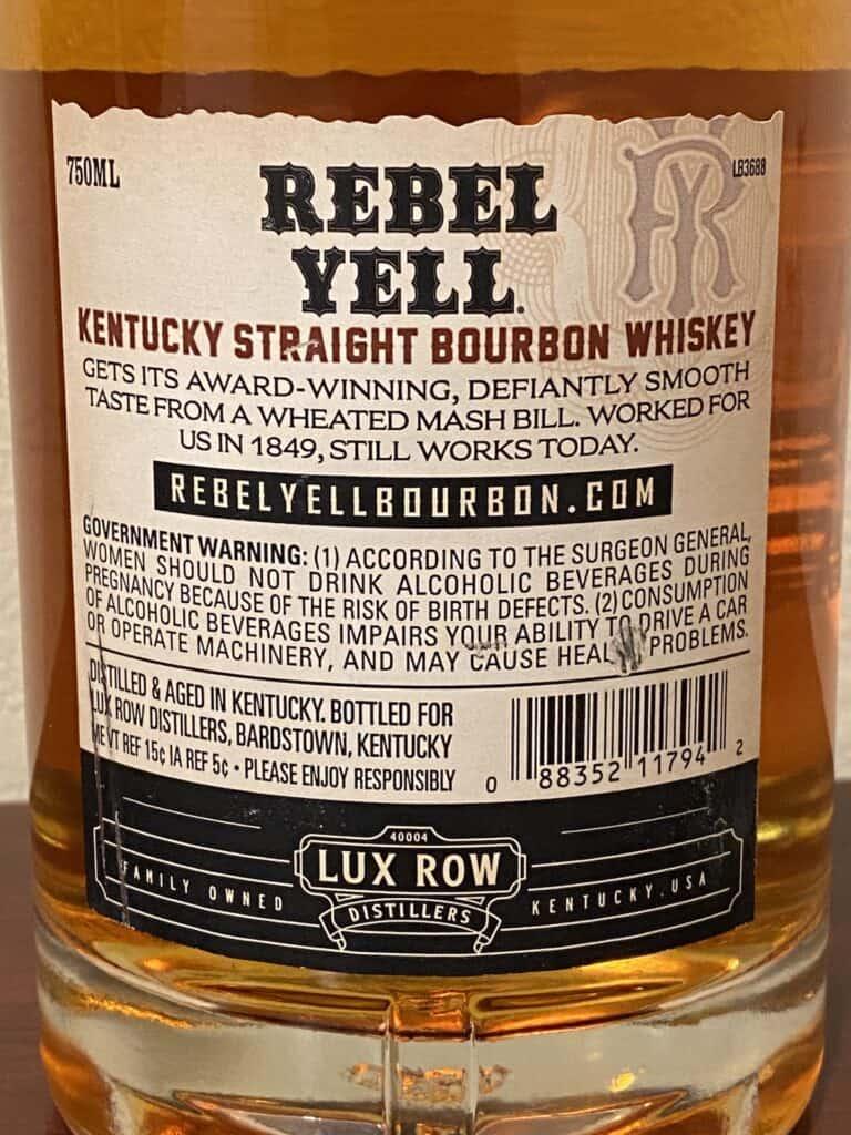 Rebel Yell Bourbon back label